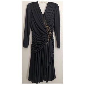 Vintage 1980s Sequin Draped Dress